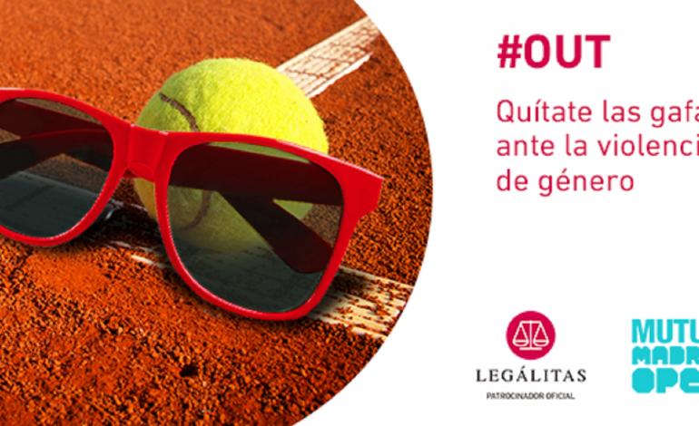 """ilustración de unas gafas junto con una pelota de tenis, a la derecha, se ve el texto """"#OUT, quítate las gafas ante la violencia de género"""""""